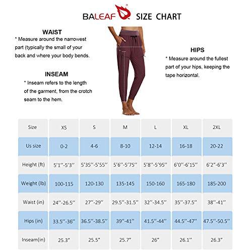BALEAF Women's Lightweight Jogger Hiking Pants with Zipper Pockets High Waist Quick Dry Black S