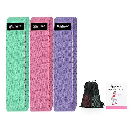 Qishare 2020 actualizado 3 Niveles Diferentes Bandas de Resistencia de Tela para piernas y glúteos,Bandas de Cadera Antideslizantes para Hombres y Mujeres Pérdida de Peso,Verde Rosa Púrpura(S)