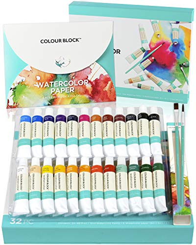 COLOUR BLOCK 32pc Watercolor Paint Tubes Set with Brushes. Art Supplies for Kids, Teens and Adults. Suitable for Beginners to Professional Artist. Perfect for Painting on Water Color Paper.