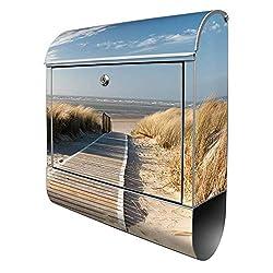 Banjado Design Briefkasten mit Motiv Dünen | Stahl pulverbeschichtet mit Zeitungsrolle | Größe 39x47x14cm, 2 Schlüssel, A4 Einwurf, inkl. Montagematerial