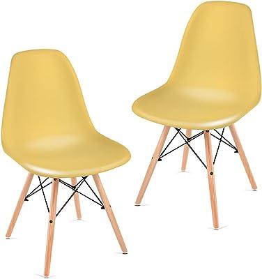 Mc Haus Lot 2 chaises de Salle à Manger, Polypropylène, Moutarde, 82x46x51cm
