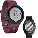 Garmin Forerunner 245 GPS Sport Watch (Berry) with Deco Gear Screen Protector (2-Pack) for Smartwatch Bundle - 010-02120-01