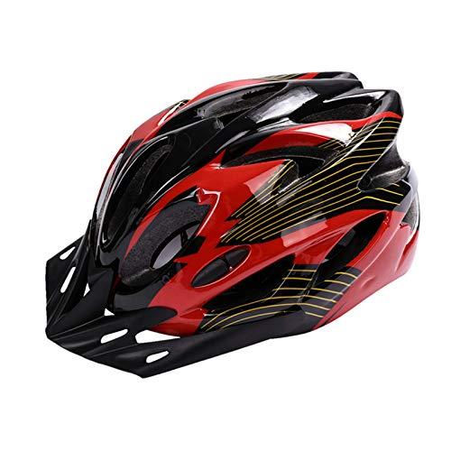 Huai1988 Casco de Bicicleta, Casco Bicicleta Adulto Casco de Bicicleta para Hombre con Visera Desmontable Casco de Ciclismo Ligero Protección Seguridad Casco Ciclista Mujer Hombre 57-63cm Negro+Rojizo