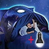 Dream Tents - Tente de Lit Enfants Tente Playhouse de Tente Apparaitre Intérieure Enfant Jouer Tentes Cadeaux de Noël pour Enfants (Aventure Spatiale + Liseuse)