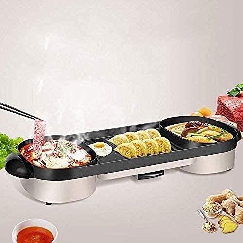 YAYY Multifunctionele Elektrische Oven Huishoudelijke Dubbele pot Elektrische Oven Elektrische Bakplaat IJzeren Plaat Barbecue Machine Twee-in-een Combinatie Elektrische barbecue (Kleur : Goud, Upgrade)