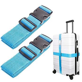 Luxebell Sangle de Bagage, Sangles de Transport Suitcase Belt Accessoires de Voyage, 60 x 200cm, 2-Pack (Bleu)