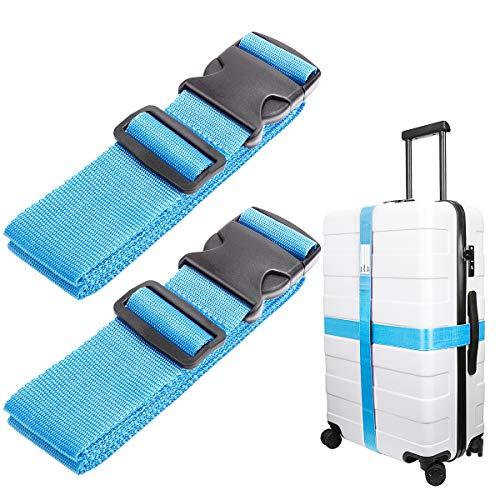 Luxebell Correas para Equipaje, Cinturones de la Maleta, Accesorios de Viaje (Paquete de 2) (Azul)
