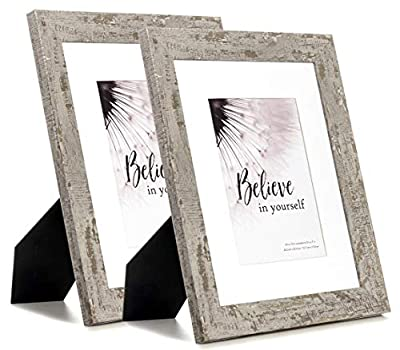Scholartree 8x10 Picture Frame Display Picture 5x7 with Mat, HD Glass Inside Rustic Wooden Grey Photo Frames for Table Top and Wall Mounting, 2 Sets