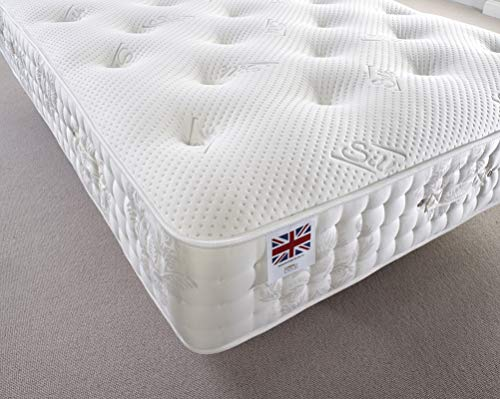 Bed Centre 2500 Silk Pocket Sprung Memory Foam Mattress, Breathable Mattress Medium Firm Support with Soft Fabric Fire Resistant (6FT Super King)