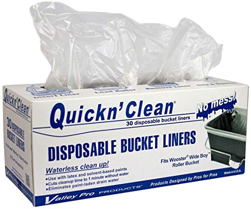 Quickn'Clean Disposable Paint Bucket Liners 30-Pack. Custom fits Wooster Wide Boy Paint Bucket.