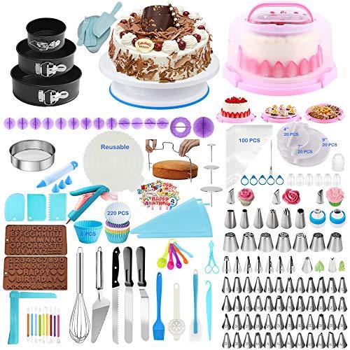 Kuchendekorationsset, 598-teiliges Kuchendekorationswerkzeug-Set, Backwerkzeuge mit Kuchen-Drehplatte, Cupcake-Muffin und Kuchenträger, 74 Dekorationsspitzen, Kuchenformen und andere Kuchenwerkzeuge