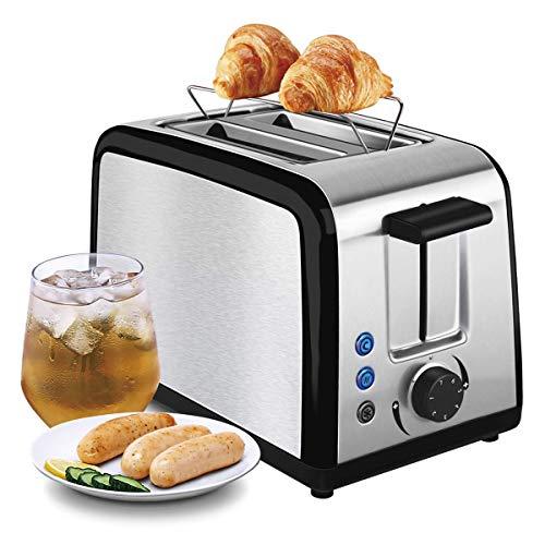 Toaster CUSIBOX 2 Scheiben Edelstahl Automatik Toaster, Integrierter Brötchenaufsatz mit breite Schlitze, 7 Bräunungsstufen, Auftau- /Reheat-Funktionen, abnehmbare Krümelschublade, 800W, Schwarz