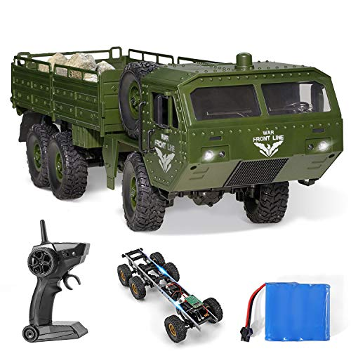 RC Army Cars,Remote Control Car Trunk with Transport 6WD Off Road Racing Trunk 1:16 Scale RC Vehicle All Terrains for Adult Kids