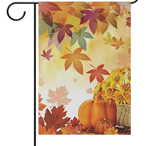 Wamika Fall Leaf Kürbis Garten Fahne Haus Banner 30,5 x 45,7 cm Herbst Sonnenblume Dekorative Willkommen Flaggen für Urlaub Hochzeit Party Hof Home Outdoor Decor, Textil, Multi, 12x18(in)