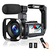 Video Camera 4K Camcorder 48MP 60FPS, Digital Camera for YouTube with WiFi, IR Night Vision, Time-Lapse, 3.0' Touch Screen, Vlogging Camera with Microphone, Handheld Stabilizer, Lens Hood,2.4G Remote