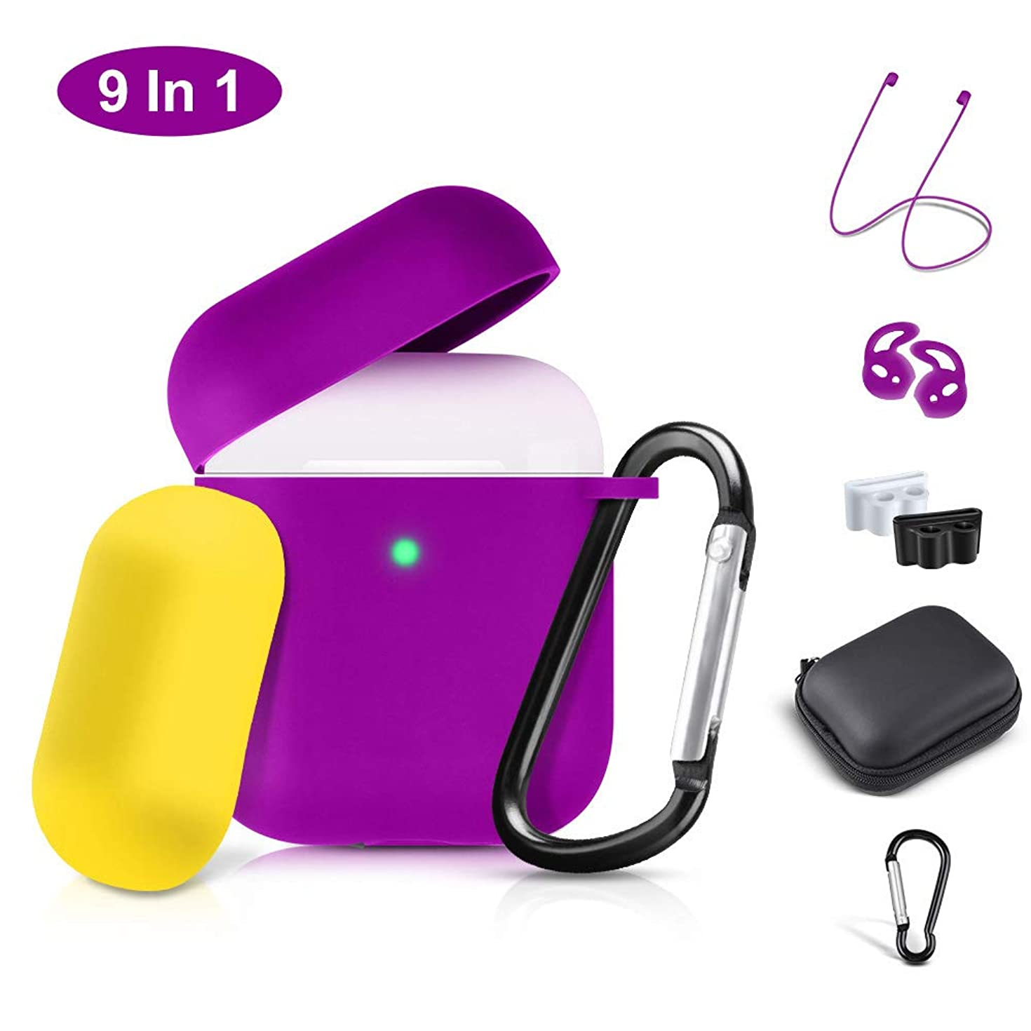 Airpods Case Cover, 2019 Airpod 2 Silicone Case Full Protective Cover Skin 9 in 1 Airpods Accessories for Apple Airpods 2 & 1 Wireless Charging Case, RTAKO Purple Airpods Cover(Front LED Visible)