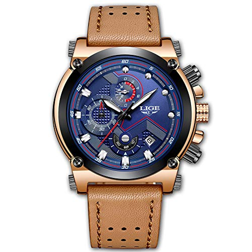 Relojes para Hombres,LIGE Cronógrafo Impermeable Militar Deportivo analógico de Cuarzo Reloj Cara Grande Correa de Cuero Marrón Fecha Moda Casual Relojes de Pulsera Gris Azulado