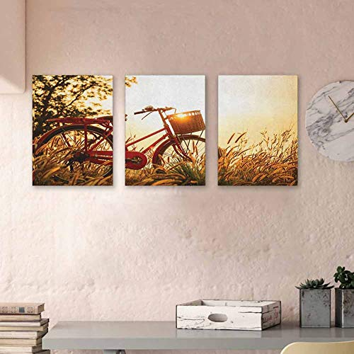 Bicycle Paintings Oil Classic Retro Style Bike in Sepia Tones Romantic Sunset Rural View Picture 3D Hand-Painted On Canvas Abstract for Home Decor, 16'x31' x3 Piece Red Orange Yellow