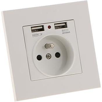 ETbotu Prise Murale /électrique avec Chargeur Double USB 16A R/églementation Europ/éenne Fran/çais Double USB Noir