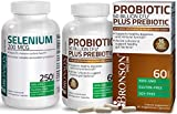 Bronson Probiotic 50 Billion CFU + Prebiotic with Apple Polyphenols & Pineapple Fruit Extract + Selenium 200 Mcg for Immune System, Thyroid, Prostate and Heart Health