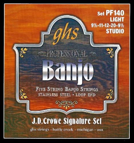 GHS Strings PF140 J.D. Crowe Signature Series (Studio), 5-String Stainless Steel Banjo Strings (.009 1/2-.020)