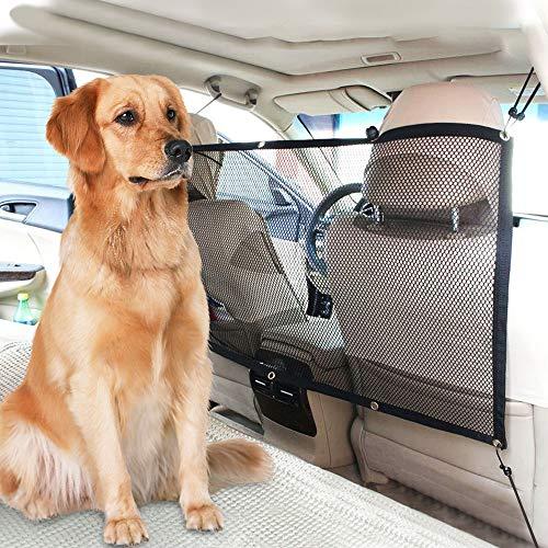 FREESOO Mascota Perro Red Rejilla Auto Asiento Trasero Cubierta Protectora De Coche Malla Red Barrera para Niños Perros Mascotas 115cmx62cm Universal Protector de Seguridad