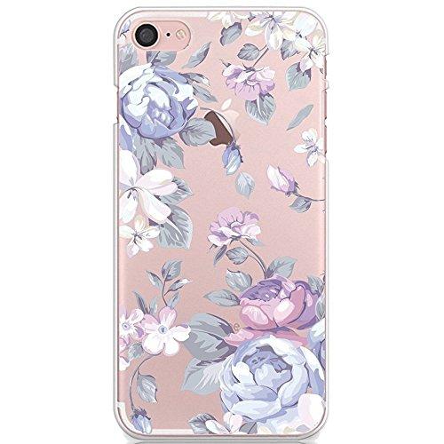 para la Funda del iPhone 6S Plus/iPhone 6 Plus, CrazyLemon Transparent Slim Bumper TPU Rubber Soft Flexible Silicone Cover para iPhone 6 Plus/iPhone 6S Plus - Flor Blanca y Morada