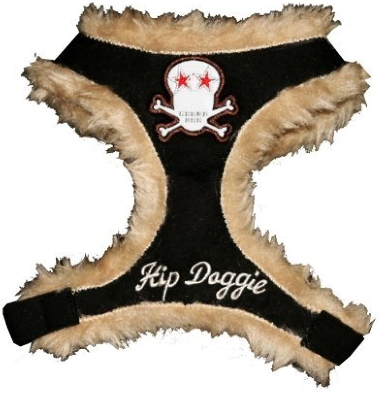 Hip Doggie HD6BKFSKS Small Black Fur Skull Harness Vest
