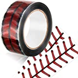 110 Yards Baseball Stitches Design Tape Adhesive Baseball Packing Tape Crafting Wrapping Roll Tape for Shipping, Sealing, Wall Hanging, Home Decoration (1)
