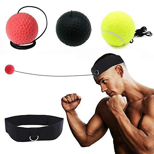 FBSPORT Bola De Boxeo con 3 Boxing Reflex Ball, Diadema Ajustable, Bolsa de Almacenamiento, Boxeo Entrenamiento Casa para Niños Adultos