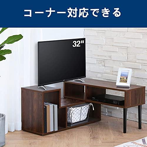FITUEYES(組立簡単)テレビ台伸縮テレビボード幅103㎝-150㎝好きな幅に調整できる/角度自由24型32型43型50型テレビ対応テレビ台収納テレビ台コーナーローボードテレビラックTV台木製ウォルナットブラウンTS210302WG