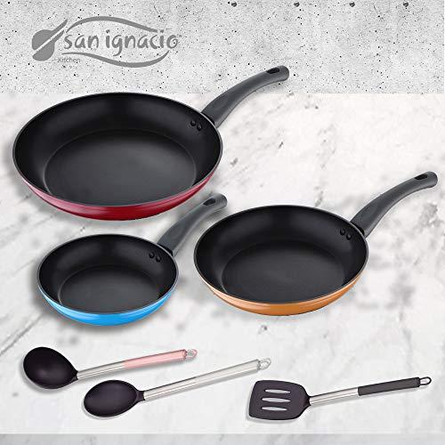 San Ignacio Monza Set 3 Sartenes + 3 Utensilios, Aluminio Forjado, Multicolor