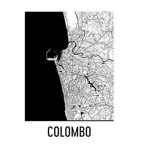 Moderne kaart Art Colombo Kaart, Colombo Art, Colombo Print, Colombo Sri Lanka Poster, Colombo Muurkunst, Sri Lankaanse geschenken, Kaart van Sri Lanka Poster