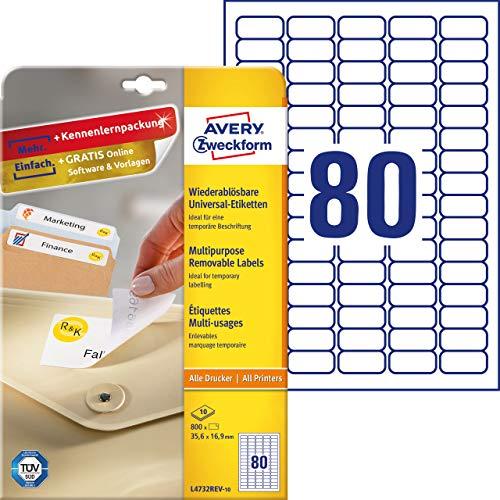 AVERY Zweckform L4732REV-10 Universal-Etiketten (35,6 x 16,9mm auf DIN A4, wieder rückstandsfrei ablösbar / abziehbar, bedruckbar, selbstklebend, 800 Klebeetiketten auf 10 Blatt) weiß