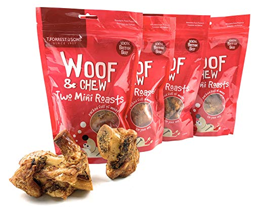 4 Packs (300g to 400g per pack) Woof & Chew Two Mini Roasts - Natural Dog Treats Produced in UK by T Forrest