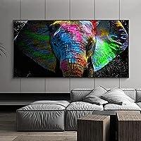 カラフルな象のキャンバスの絵画アニマルプリントポスターモダンなリビングルームの象の壁のアート写真家の屋内壁の装飾50x120cmフレームなし