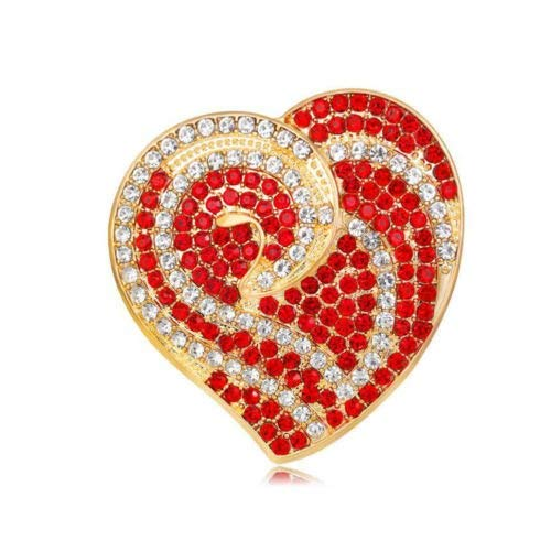 MGPLBYA Crystal Brooch Pins Clip Brooches with Opal Crystal Ladies Brooches Pins for with Opal Crystal UniqueenGold Bright Red Heart Love Gift Brooch Coat Valentines Day Mother`s Mum Gift Pin BR433