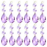 BIHRTC Pack of 12 Hanging Purple Teardrop Crystal Chandelier Prisms Pendants Glass Pendants Beads for Chandelier,Candelabra,Ceiling Lights,Wedding Display Decoration