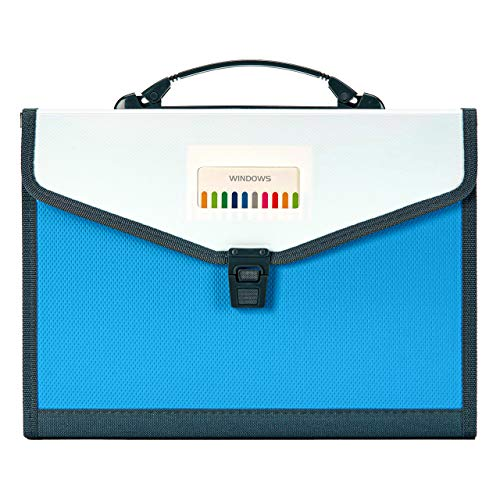 FANWU 13 Pockets Expanding File Folder Accordion File with Handle & Buckle - Letter A4 Paper Size - Expandable Plastic File Folder Monthly Portable Document Organizer for Home School Office (Blue) Photo #6