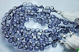 Jewel Beads Natural Beautiful jewellery 8 Inch,Super-Finest Quality,Light Color IOLITE Faceted Heart Briolettes,7.5-8mm aprxCode:- JBB-37865