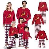 Geagodelia - Pijama navideño para familia con camiseta de reno, pantalones a cuadros, traje de familia de Navidad, ropa navideña, para madre, papá, recién nacido, niño, 2 piezas Rosso Bambino 5 años