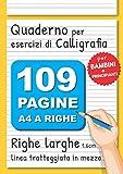 Quaderno per Esercizi di Calligrafia: 109 Pagine A4 Righe Larghe per Scrittura a Mano, Hand Lettering, Appunti | Righe Grandi con Linea Tratteggiata in Mezzo | Bambini e Principianti | Giallo