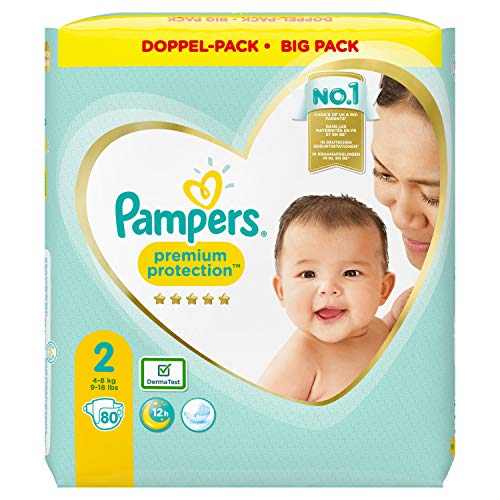 Pampers Premium Protection Windeln, Gr. 2, 4kg-8kg, Doppel-Pack (1 x 80 Windeln)