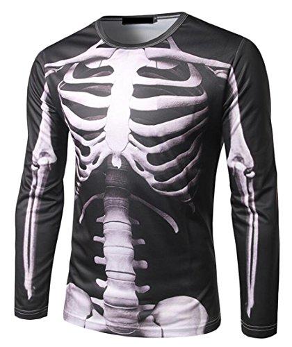 Acquaa Men Long Sleeve 3D Perspective Skeleton Print Slim T-Shirt Black
