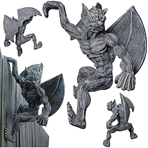 EOIIEWIO Gargoyle Garden Statues and Figurines Outdoors, Hanging Decor Sculpture Resin Crafts Ornaments for Backyard Patio Yard Balcony, Dragon Decoration for Fence Wall Door(Color:20×20×10cm)