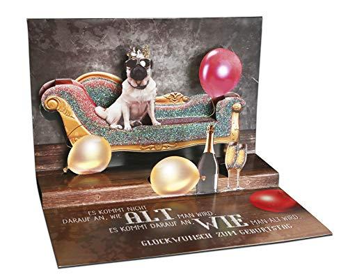 3D Pop – UP Karte Geburtstag, mit Glitter, Geburtstagskarte 3D, POP - UP Karten, POP UP Karten Geburtstag, Motiv: Mops