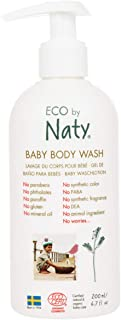 Eco by Naty, Baby Body Wash, Organic plant-based ingredients with 0% perfume, Hypoallergenic and dermatologically tested, 200 ml bottle