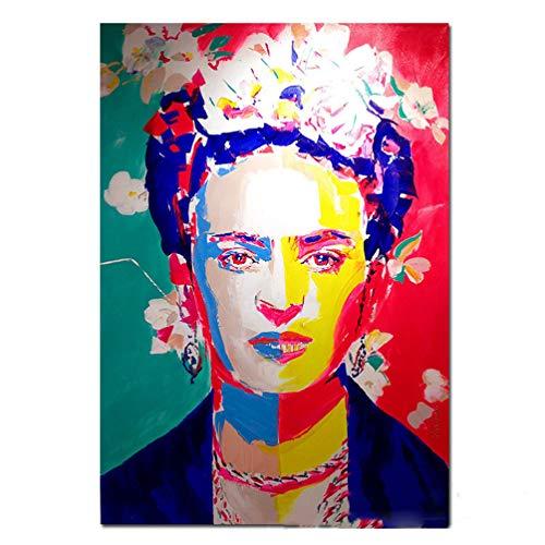 Frida Kahlo Affiche imprimée sur toile Peintre mexicaine Portrait Peintures Pop Art Art mural coloré Art sur toile art Graffiti Realismus Photos pour la décoration murale, Sans cadre,50×70cm