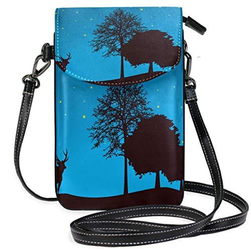 Bolso para teléfono celular, diseño de animales salvajes americanos, ciervos, alce, árboles, noche, pequeño bolso cruzado para teléfono celular, cartera para mujeres y niñas