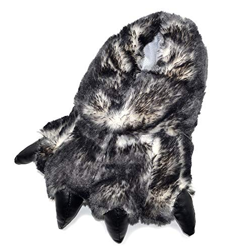 Millffy Funny Slippers Grizzly Bear Stuffed Animal Furry Claw Paw Slippers Toddlers, Kids & Adults Costume Footwear (X-Large - (Men's Size), Black Tip Claw)